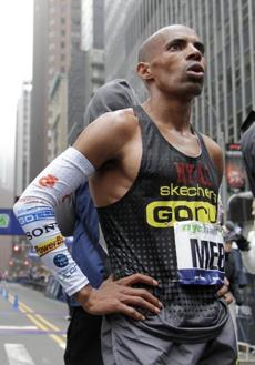 Meb Keflezighi, third place finisher in the 2006 Boston Marathon, goes for ethnic food.